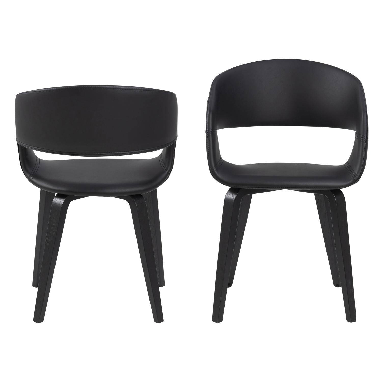 ACT NORDIC NOVA 60 spisebordsstol m. armlæn - sort kunstlæder og poppel/birketræsfiner