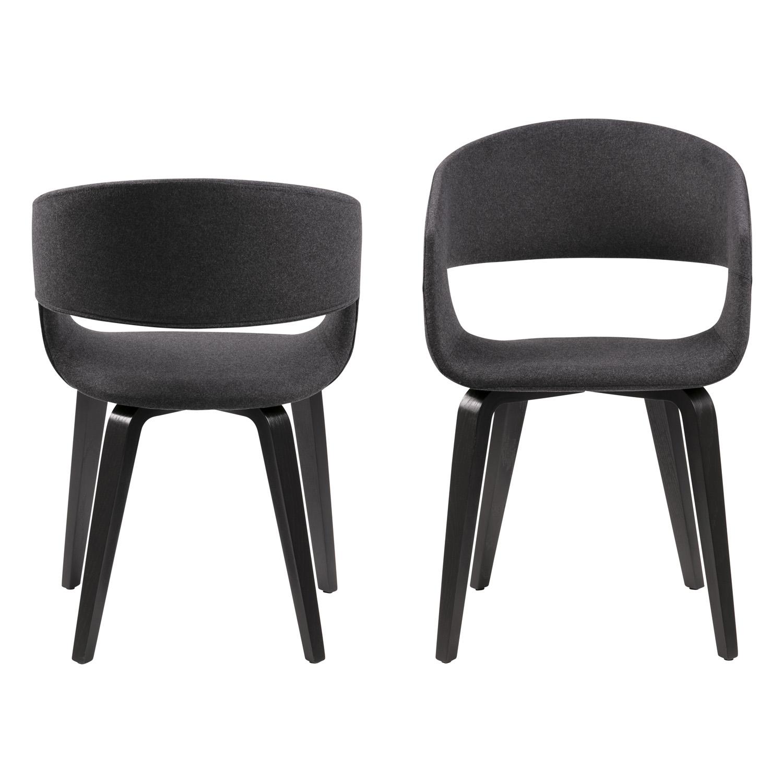 NOVA 60 spisebordsstol m. armlæn - mørkegrå stof og sort poppel/birketræ finer