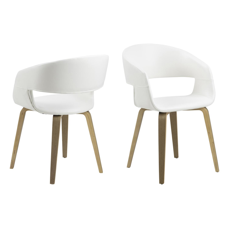 ACT NORDIC NOVA 60 spisebordsstol m. armlæn - hvid kunstlæder og natur poppel/lindetræ finer
