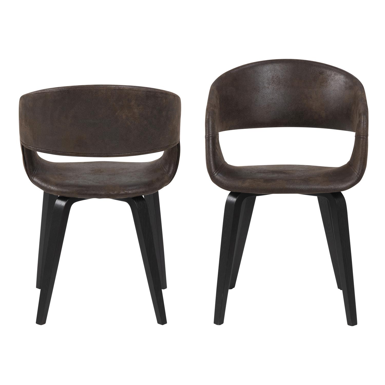NOVA 60 spisebordsstol m. armlæn - brun stof og valnøddefarvet poppel/egetræ finer