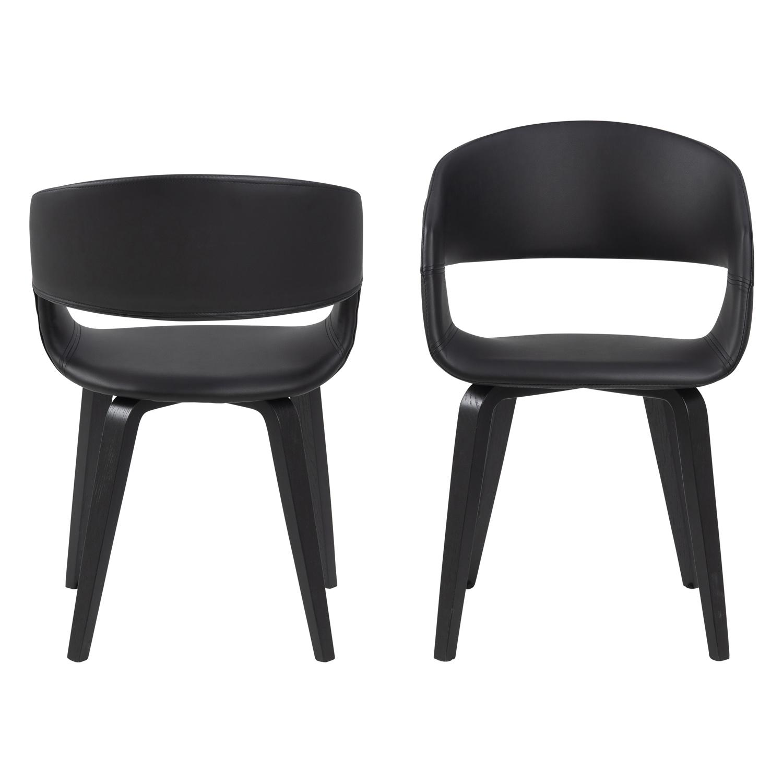 NOVA 60 spisebordsstol m. armlæn - sort kunstlæder og poppel/egetræ finer