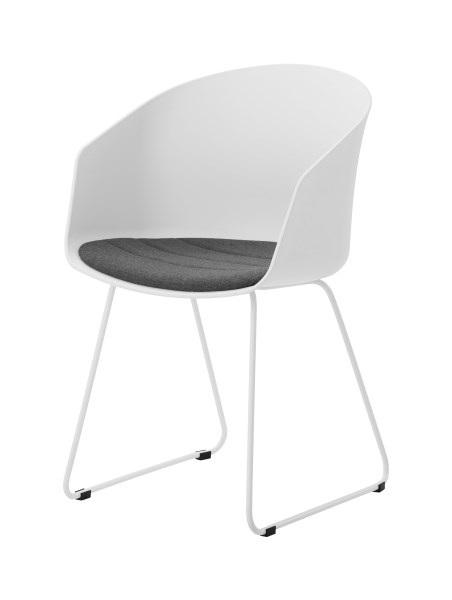Moon 40 spisebordsstol - hvid plastik og hvide metalben, m. armlæn og grå hynde