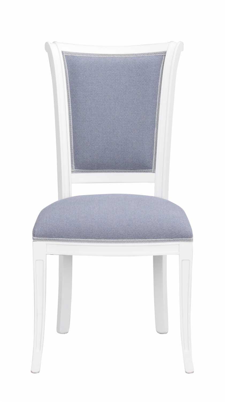 Image of   Amore spisebordsstol - hvidt træ og blåt stof