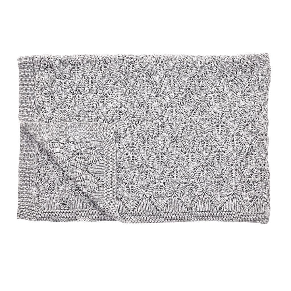 H?bsch plaid i lammeuld m/mønster, grå fra hübsch fra boboonline.dk