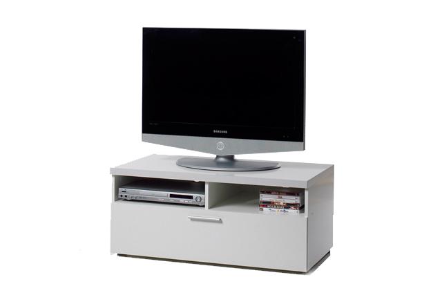 Napoli TV-bord - hvid med 2 rum og 1 skuffe Hvid thumbnail