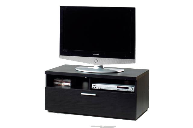 Image of   Napoli TV-bord - hvid med 2 rum og 1 skuffe Sort ask
