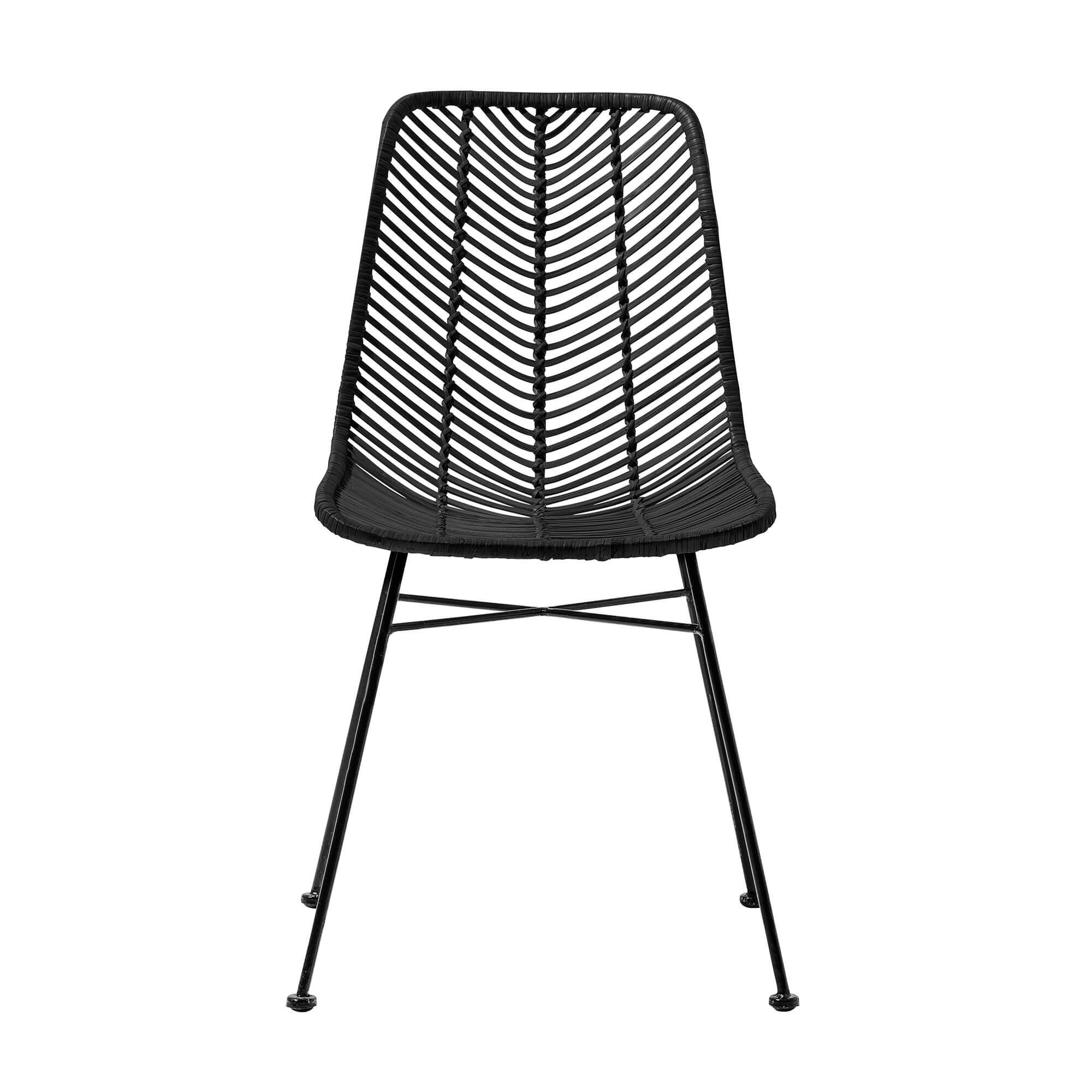 Bloomingville lena spisebordsstol - sort rattan/jern fra bloomingville på boboonline.dk