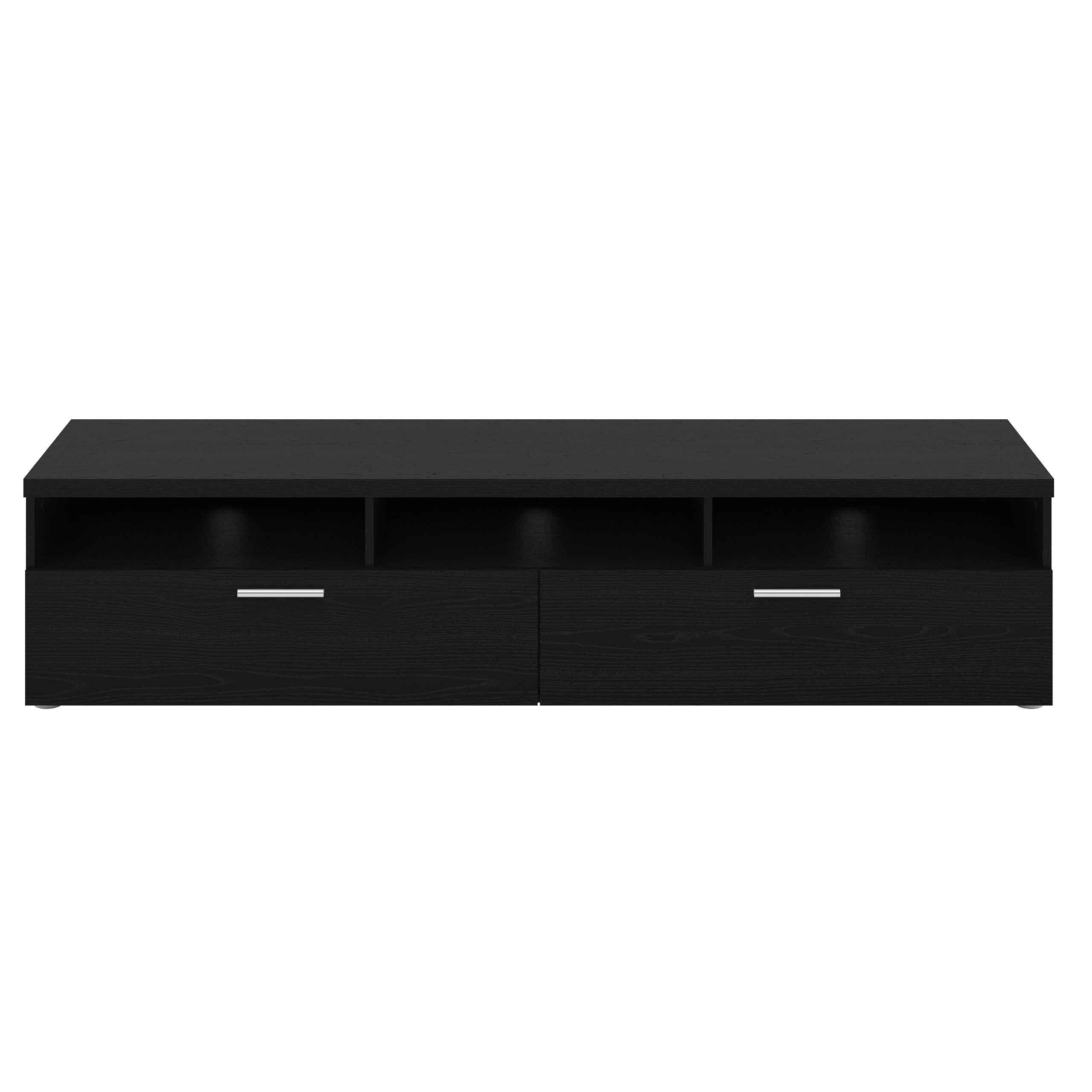 Napoli TV-bord - Hvidt træ eller sort ask, m. 2 skuffer Sort ask