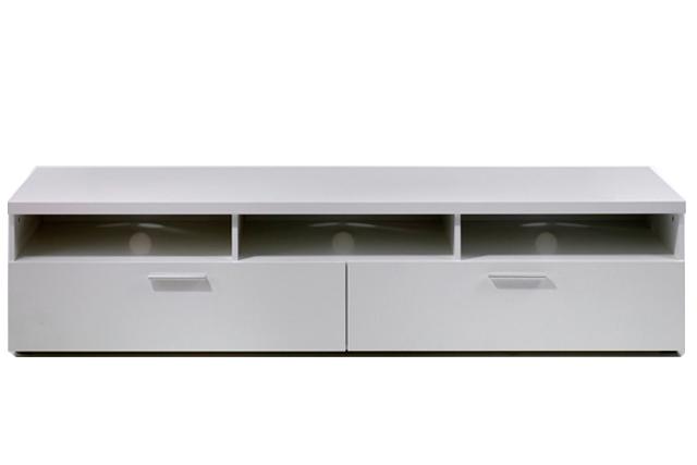Napoli TV-bord - Hvidt træ eller sort ask, m. 2 skuffer Hvid
