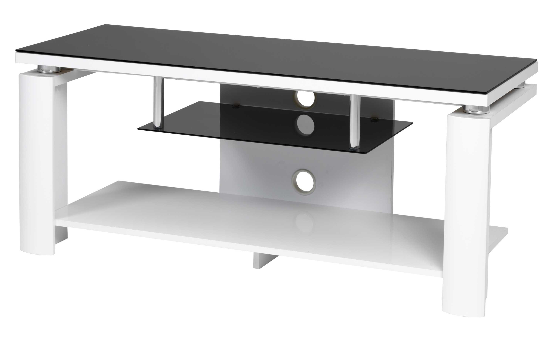 Image of   Bronco TV-bord - tonet glas/hvid m. 2 hylder