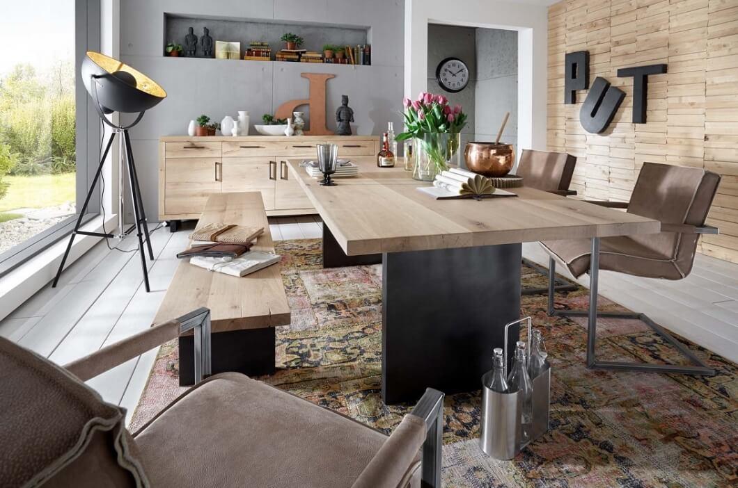 bodahl woodstock plankebord - bianco eg, m. udtræk (2-delt bordplade) 240 x 100 cm t-ben fra bodahl