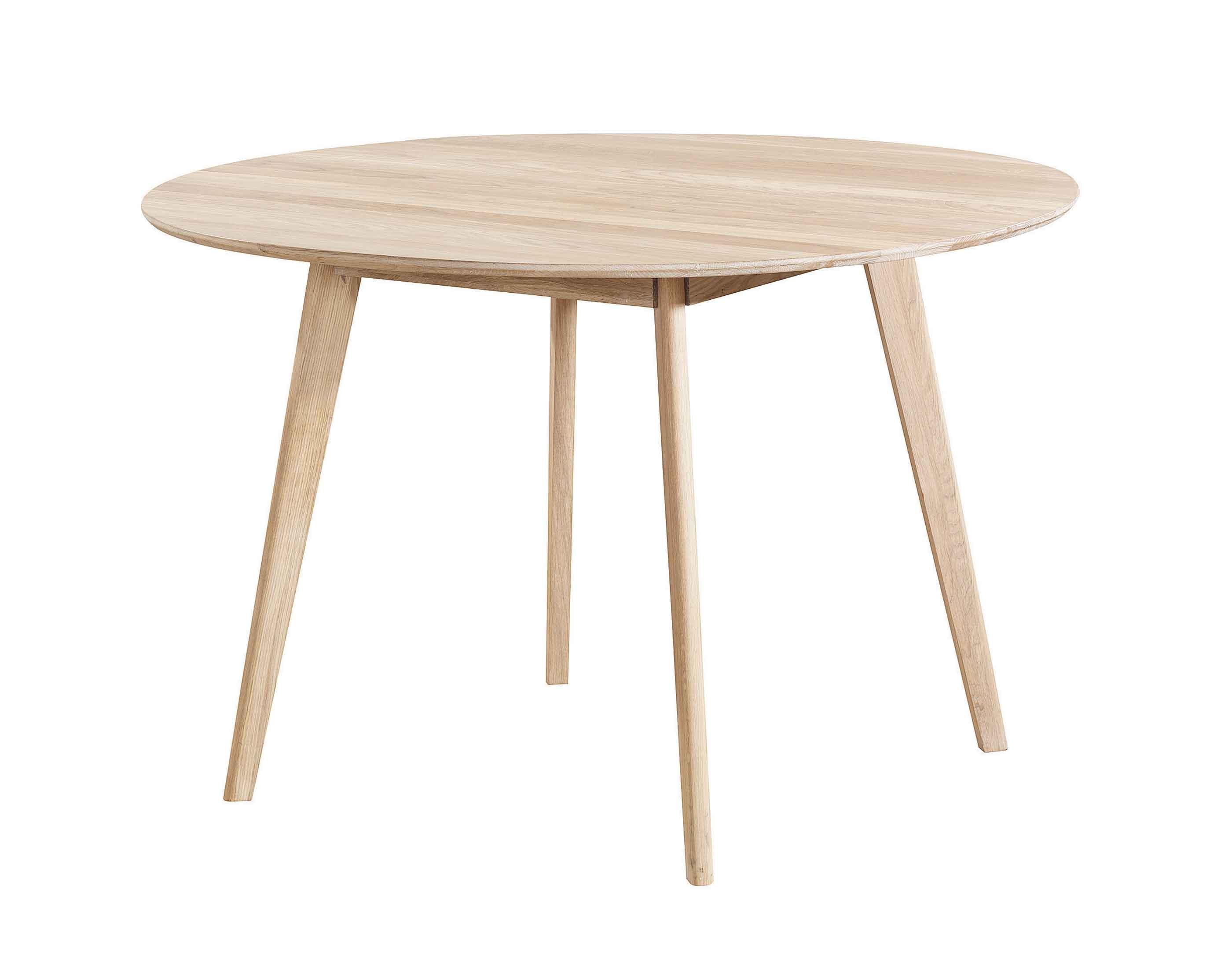 Yumi spisebord - Hvidpigmenteret egetræ, rundt (Ø:115)