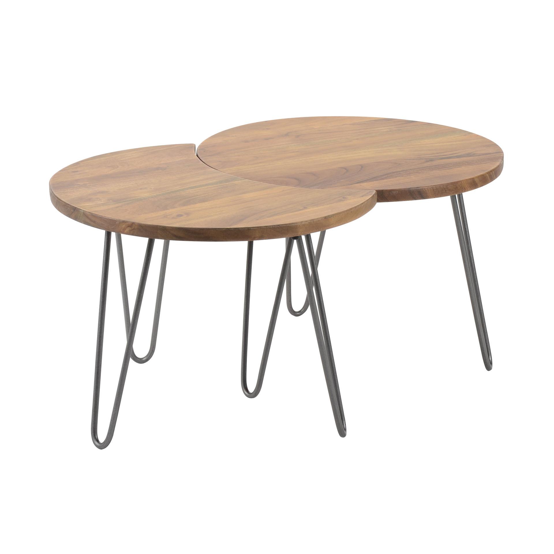 Furbo sofabord - natur/sort akacietræ/stål, rund (sæt ? 2 stk) fra furbo på boboonline.dk