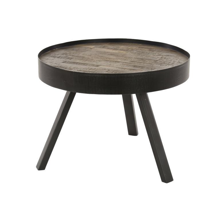 furbo Furbo sofabord - gråtonet natur/sort teaktræ/metal, rund (ø:60) på boboonline.dk