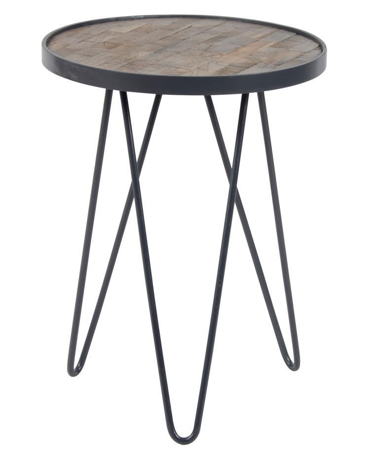 furbo Furbo sidebord - natur/grå teaktræ/metal, rund (ø:38cm) fra boboonline.dk