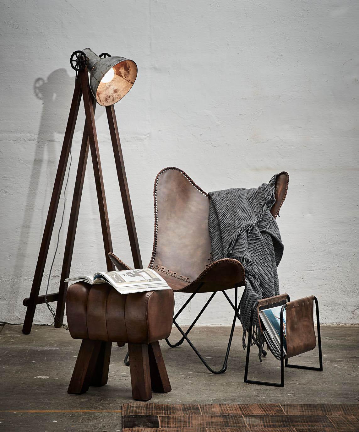 FUHRHOME Amazon butterfly stol, patina, ægte læder Unika