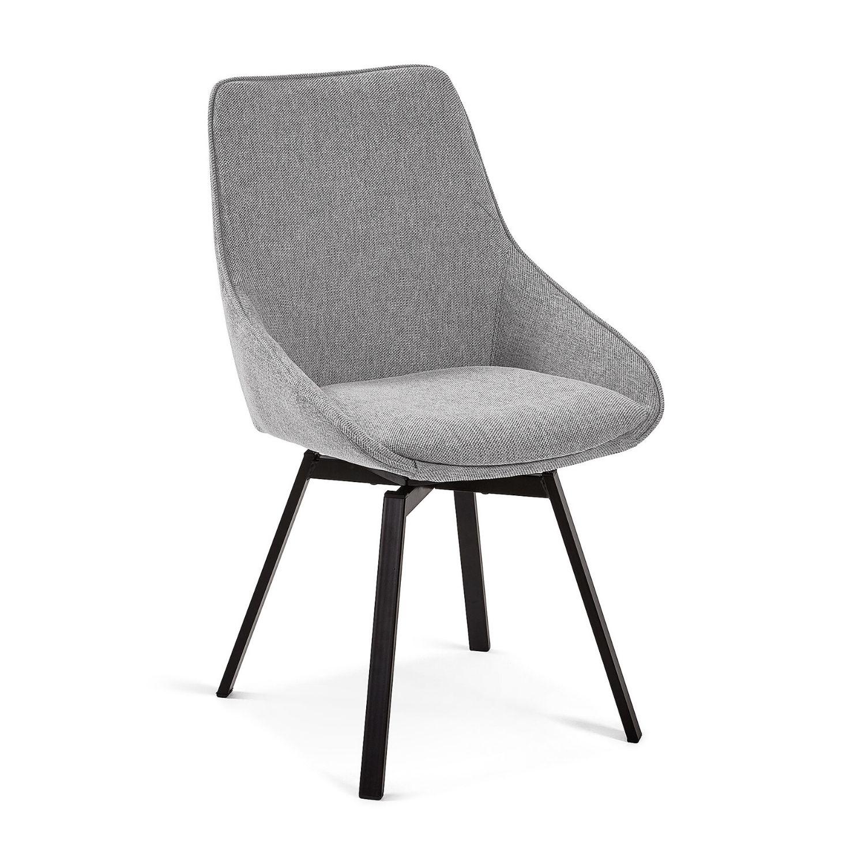 LAFORMA Haston spisebordsstol m. armlæn - lysegrå stof og metal med krydsfiner