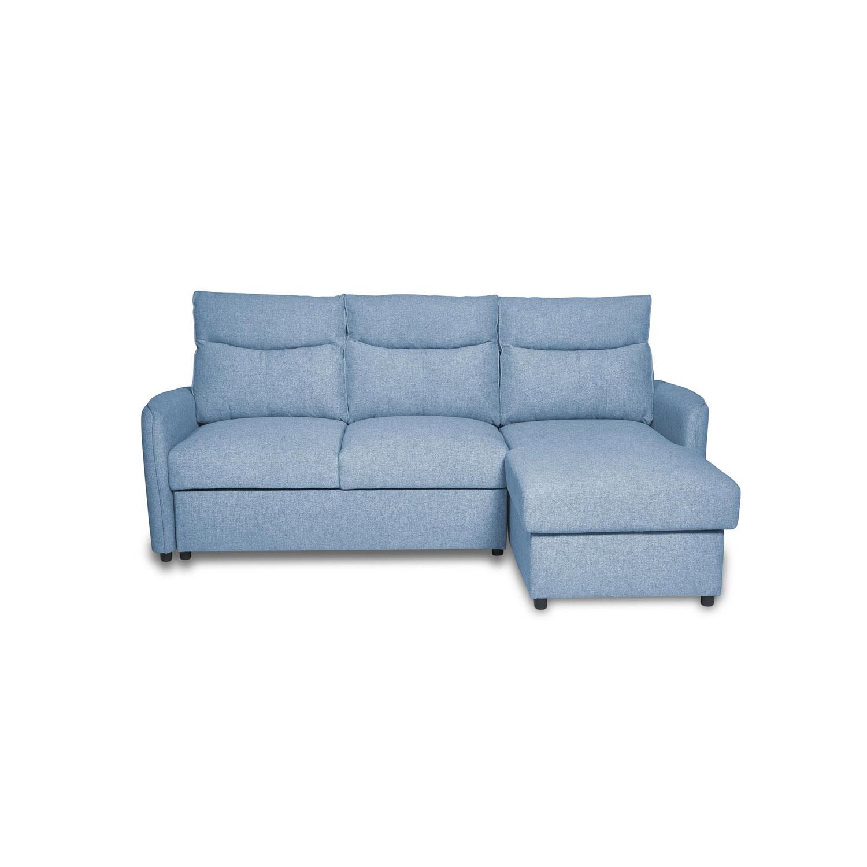 New York sovesofa, vendbar, m. opbevaring - blå stof