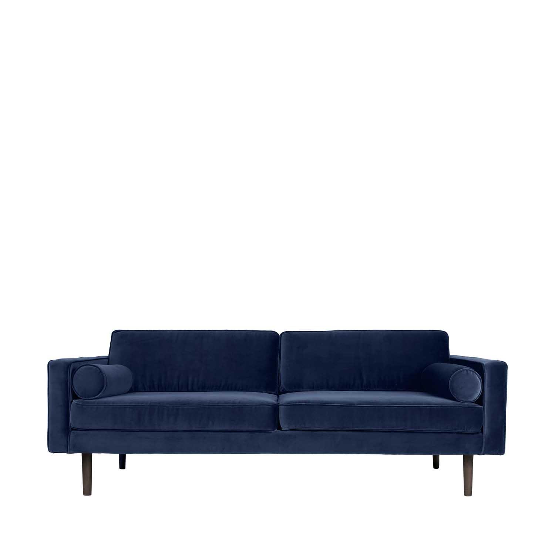 BROSTE COPENHAGEN Wind sofa - blå polyester velour