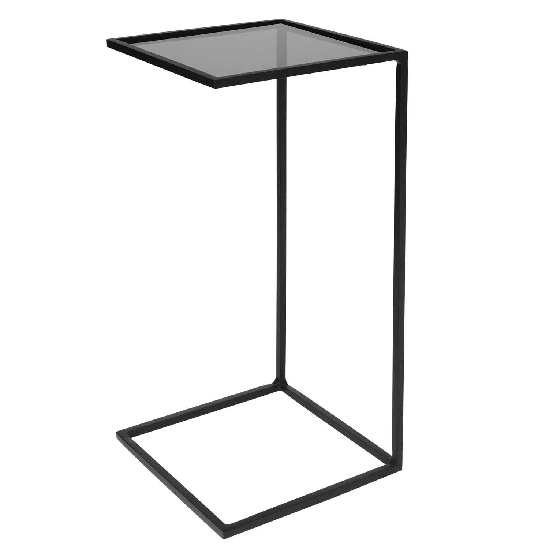 BROSTE COPENHAGEN Tania sidebord - glas og sort stål, kvadratisk (30x30)