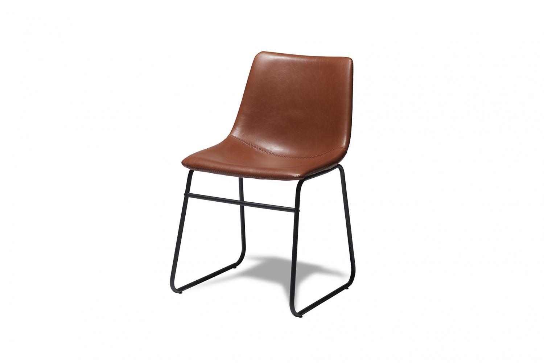 Indiana spisebordsstol - cognacfarvet kunstlæder og sorte ben