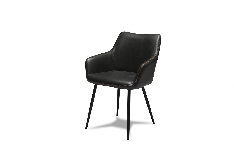 Maria spisebordsstol - sort kunstlæder og sorte ben, m. armlæn