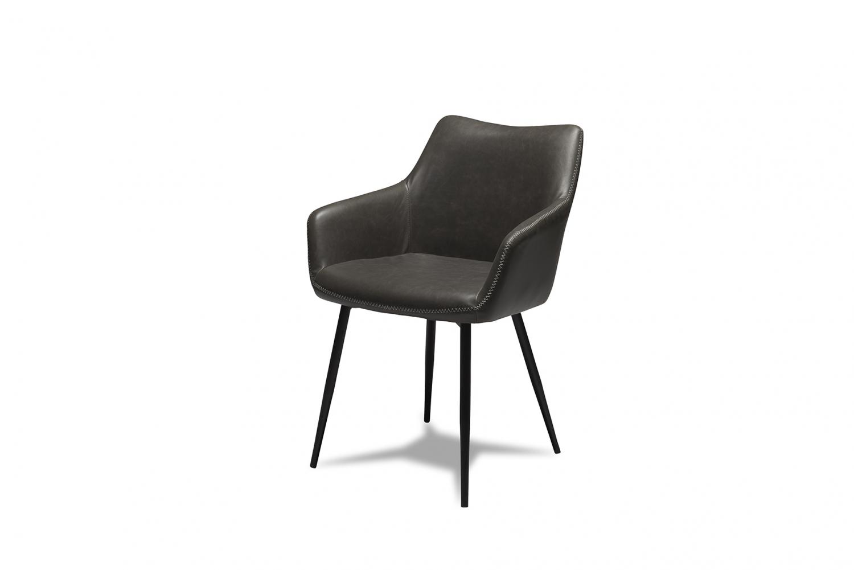 Maria spisebordsstol - gråt kunstlæder og sorte ben, m. armlæn
