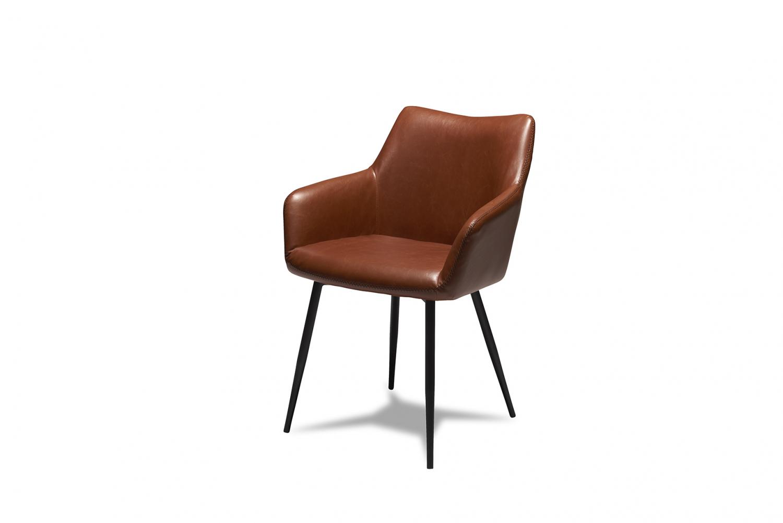 Maria spisebordsstol - cognacfarvet kunstlæder og sorte ben, m. armlæn