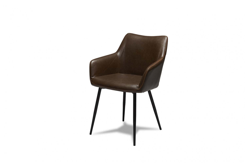 Maria spisebordsstol - mørkebrunt kunstlæder og sorte ben, m. armlæn