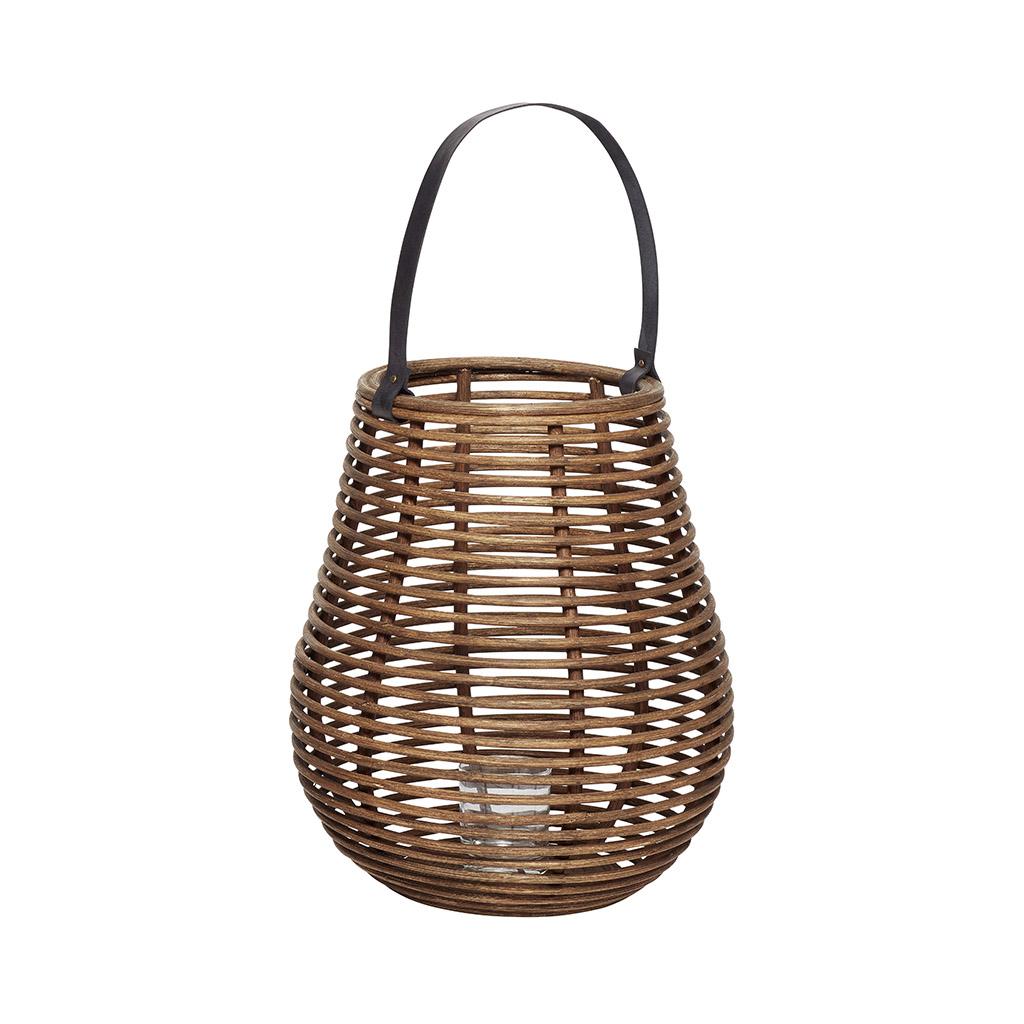 HÜBSCH Rattan lanterne m/glas, large