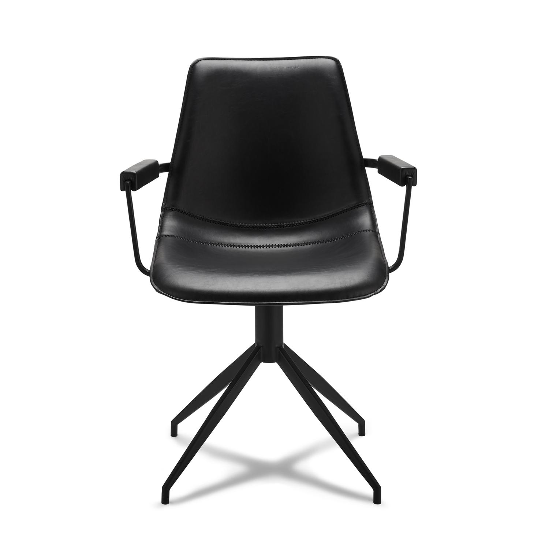 Isabel spisebordsstol, m. armlæn og drejefunktion - sort PU læder m. sorte ben