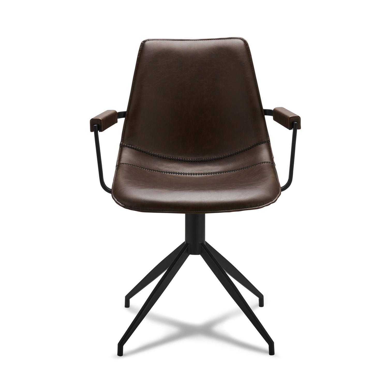 Isabel spisebordsstol, m. armlæn og drejefunktion - mørkebrunt PU læder og sort stel