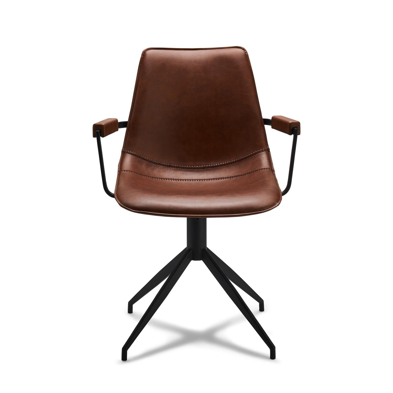 Isabel spisebordsstol, m. armlæn og drejefunktion - lysebrunt PU læder og sort stel