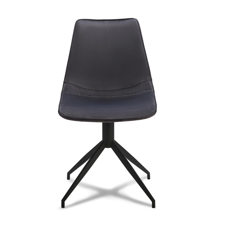 Isabel spisebordsstol, u. armlæn, m. drejefunktion - gråt fløjl m. sort stel