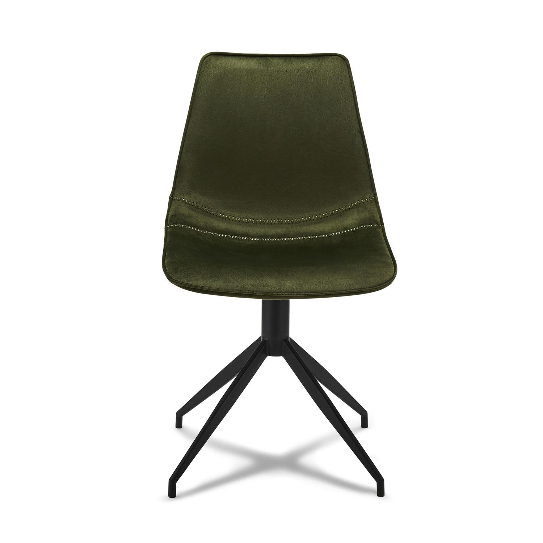 Isabel spisebordsstol, u. armlæn, m. drejefunktion - grønt fløjl m. sort stel