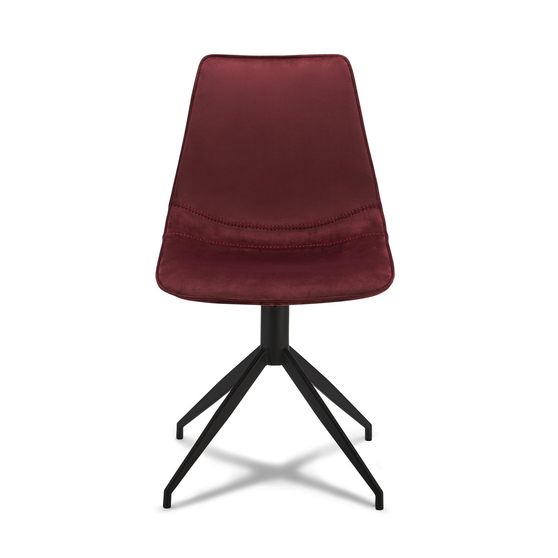 Isabel spisebordsstol, u. armlæn, m. drejefunktion - rødt fløjl m. sort stel