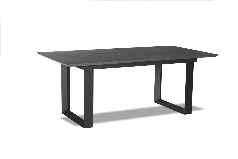 Madrid spisebord - grå/sort keramik/træ, m. butterflybordplade m. udtræk (98x195/225)