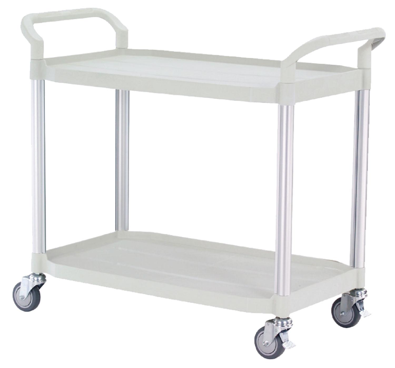 FTI Rullebord - grå/sort plast m. stålstel, m. 2 hylder (52x110) Grå