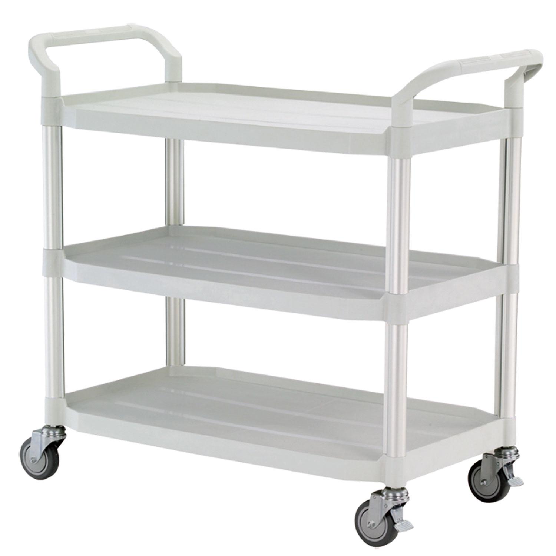 FTI Rullebord - grå/sort plast m. stålstel, m. 3 hylder (52x110) Grå