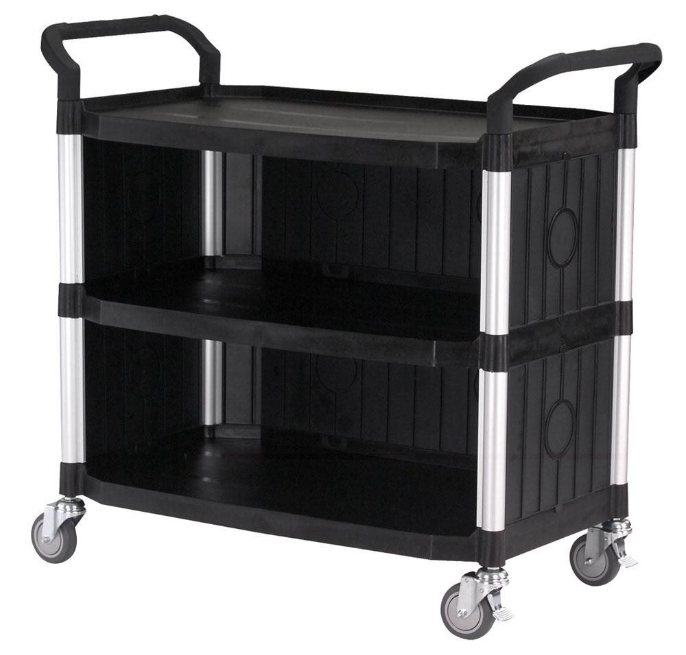 FTI Rullebord - grå/sort plast m. stålstel, m. 3 hylder, m. 3 sider (52x110) Sort