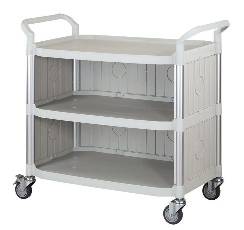 FTI Rullebord - grå/sort plast m. stålstel, m. 3 hylder, m. 3 sider (52x110) Grå