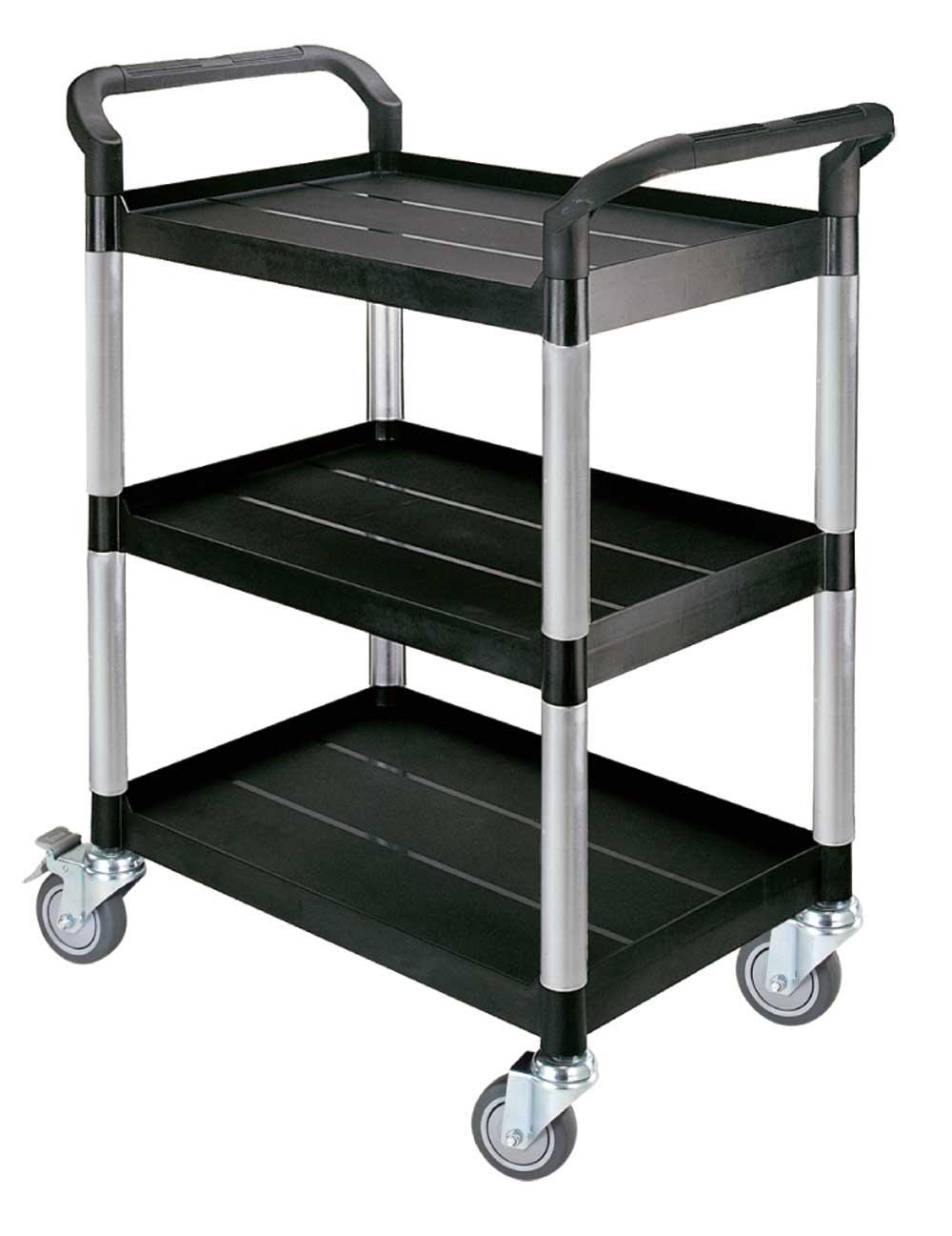 FTI Rullebord - grå/sort plast m. stålstel, m. 3 hylder, smal (48x85) Sort