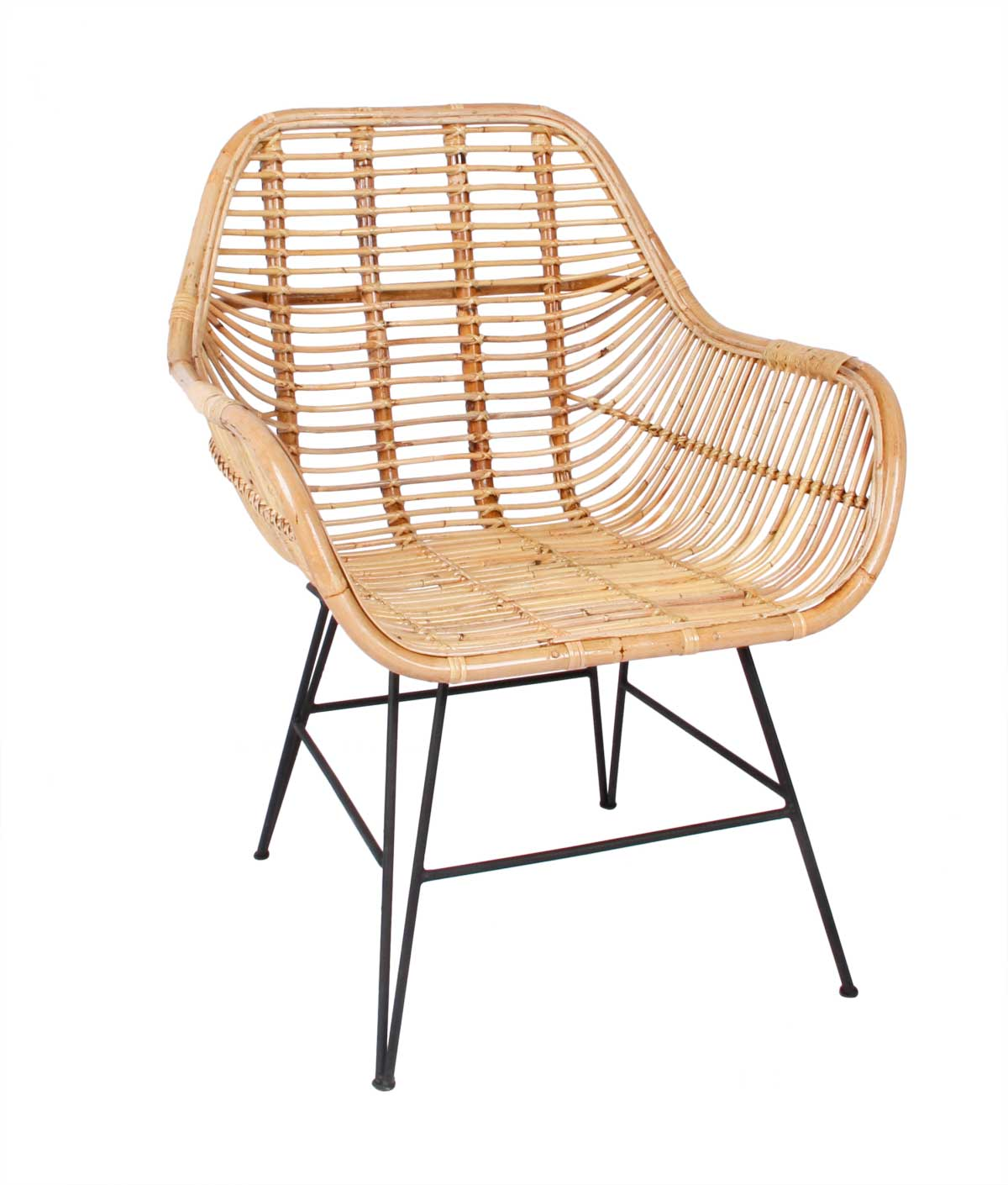 PREFORM Mura spisebordsstol - natur rattan og sort metal, m. armlæn