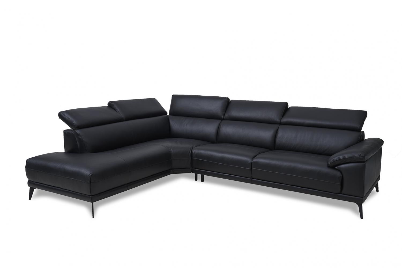 San Diego sofa - ægte sort læder, m. chaiselong og justerbar ryg