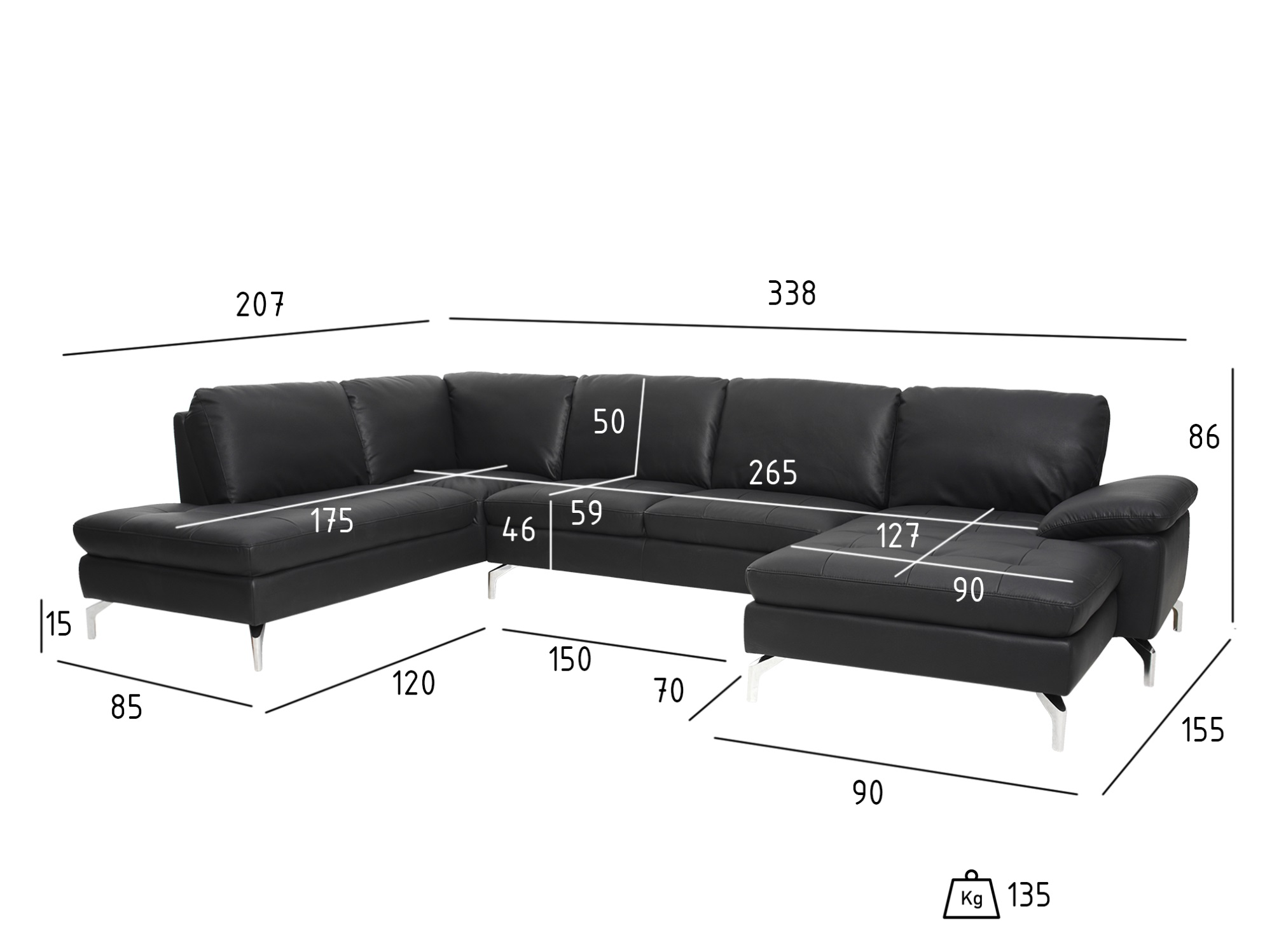 Picture of: Johan 3 Personers Sofa M Chaiselong Hojre Andie Light