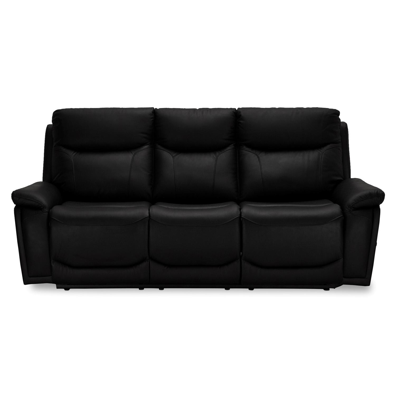Bremen sofa, 3-personers, m. armlæn og recliner – sort læder (217×99)