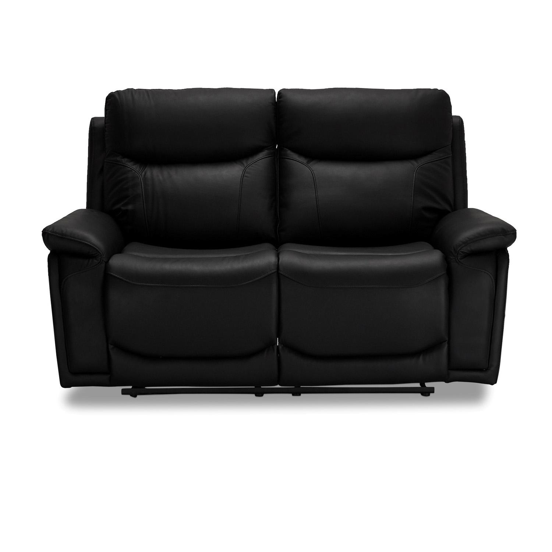 Bremen sofa, 2-personers, m. armlæn og recliner – sort læder (166×99)