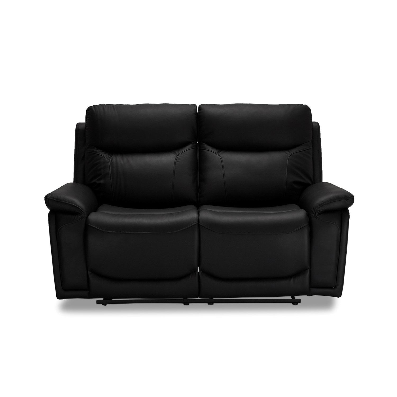 Bremen 2 pers. recliner sofa, m. indbyggede skamler - sort læder