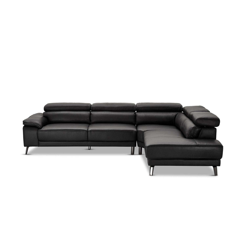 Napoli sofa, m. chaiselong i højre side - sort læder