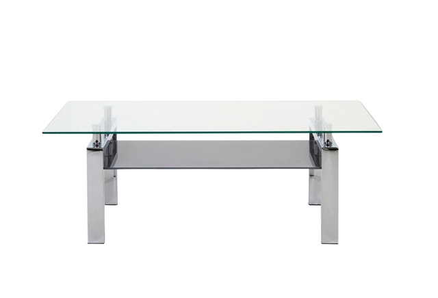 Image of   Calem sofabord - Glas og metal, m. hylde